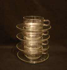 "JSCHOTT JENA GLASS CUP & SAUCER 3 1/4"" DIAMETER / MADE IN GERMANY / SET OF 4"