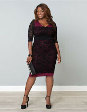 LADIES WOMAN'S PLUS SIZE 3/4 SLEEVE BLACK/BURGUNDY PARTY DRESS FIT SIZE 16 18 20