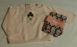 GYMBOREE Winter Ballerina 6-12 Month Pink Sweater Leggings Outfit NWT