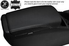 WHITE Stitch Bracciolo Lid Cover in Pelle Si Adatta Nissan QASHQAI J11 2013-2016