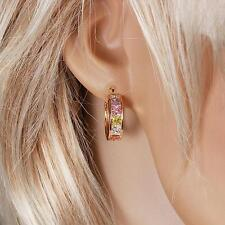 18k ct Gold Filled GF Multicolor Hoops Earrings with zircon stone