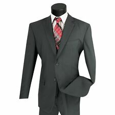 LUCCI Men's Charcoal Gray 2 Button Classic Fit Poplin Polyester Suit NEW