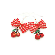Red and White Gingham Bow and Cherry Earrings, Rockabilly, Retro, Pin Up Jewelry