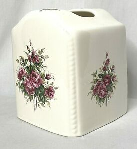 Vintage Ceramic Tissue Box Cover Athena Rose Rhapsody Floral Shabby Chic USA