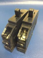 """Lot of 2 - 20 Amp Zinsco or GTE Sylvania 1 Pole 3/4"""" wide Type Q - 20A Breakers"""