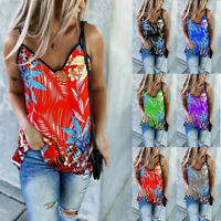 Womens Floral Vest Sleeveless Loose Cami Casual V-Neck Tank T-Shirt Tops Blouse