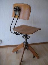 Seltener Rowac Drehstuhl Werkstatt Stuhl Chair 30er mit Rollen Robert Wagner