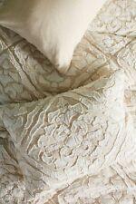 Anthropologie Damsk Applique Cream Pillow King Sham NEW