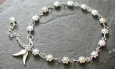 Silver Tones Daisy Flowers Angel Wings Charms Anklet Ankle Bracelet Beach Hippy