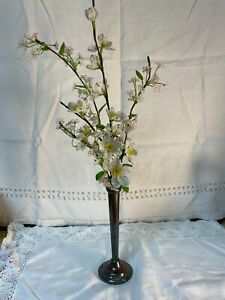 Unique French Beaded  Flower Arrangement In Sterling Silver Plated Fluted Vase