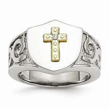 Stainless Steel with 10K Gold Cross and Diamond Polished Ring Size 10