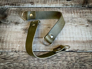LEATHER CURTAIN HOLD BACK TIEBACK 12 Inch Long Olive Green Single Item