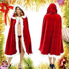 1.5m Cape pèlerine à capuche Noël robe costume manteau Rouge Pour femme 01