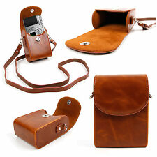 Faux Leather Vintage Brown Bag w/ Carry Strap for Olympus SH-60 Compact Camera