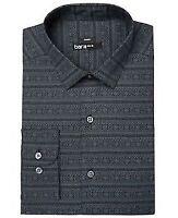 BAR III NEW Black Grey Men's Medium Slim Fit Cotton Dress Shirt (Macy's item)