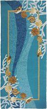 2x5 Runner Tropical Coastal Seashells Blue Indoor Outdoor Area Rug