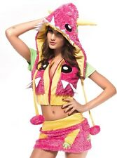 SALE!! Sexy Pink Monster Adult Womens Cosplay Animal Costume Dress Corset XS-M