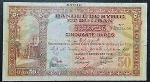Banque de Sy et du Liban, Sy, 50 livres, 1 September 1939 P44c Rare