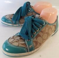 Coach Womens Shoes BRODI US 9 B Teal Khaki signature Logo Lace-Up Sneakers 5534