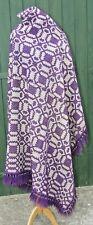 Vintage Purple/White Reversible Welsh Wool Tapestry Blanket/Shawl