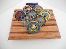 Military Challenge Coin Display Rack, Army Coin Holder, Cherry Finish