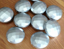 10 x 24mm Faceted acrylic disc beads -CCB MATTE  METALLIC SILVER