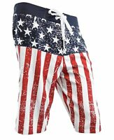Adult Mens Country USA American Flag Distressed Cord Tie Boardshorts Shorts