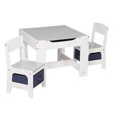 Kindertisch Kindersitzgruppe mit Stauraum Kindermöbel Sitzgruppe Weiß+Grau