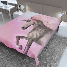Dreamscene Large Unicorn Faux Fur Throw Fleece Blanket Thick Warm - 150 x 200 cm
