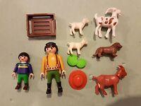 PLAYMOBIL GRANJERO CON HIJO Y ANIMALES , CABRAS , PERROS , OVEJAS