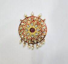 Vintage antique Solid 22K Gold jewelry Diamond polki enamel pendant amulet india
