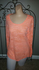 EVERLAST Active Top Size Small Long Sleeve Shirt Tail Neon Orange Semi-Sheer