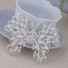 "2.75"" SILVER WHITE FILIGREE CUT-OUT BUTTERFLY CZ DIAMANTE CRYSTALS BROOCH PIN"