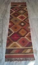 2.5x8 Anatolia Turkish Jute Wool Kilim Runner Handmade Color Full Runner