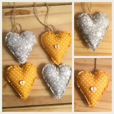 Four Shabby Chic Hanging Fabric Love Hearts /  Hanging Hearts Mustard / Grey
