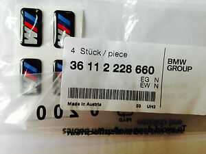 "4x Genuine BMW ""M"" Badge Light Alloy Wheel Adhesive Sticker Emblem 36112228660"