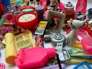 BIG LOT Barbie Doll Accessories 130+ Pieces Shoes, Glasses, Purse, Food, Pets