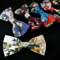 Men Handmade Floral Cotton Bowtie Adjustable Wedding Bow Tie Necktie NEW ARRIVAL