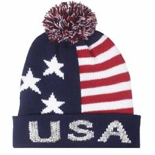 a9ba592773f Team USA American Flag POM KNIT Beanie Hat with Silver Sequins Winter  Olympics