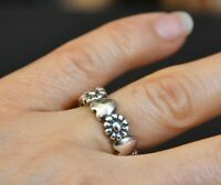 🌺❤️ PRETTY STERLING SILVER FLOWER HEART BAND RING THUMB daisy size 7 NF