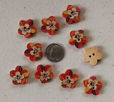 """Lot of 10 FLOWER 2-hole Wood Buttons 11/16"""" (18mm) Scrapbook Craft (1074) Floral"""