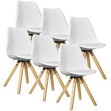 [en.casa]6x Chaise design salle à manger blanc bois plastique cuir-synthétique