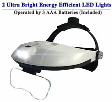 Head Mount Magnifier with LED - 5 Interchangeable Lenses 2 Way Adjustable Strap