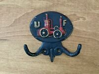 Vintage Fire Mark Double Hook United Firemans Insurance UF Cast Iron Emig