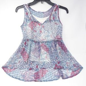 Epic Threads Girl's Size L Blue Babydoll Tank Top