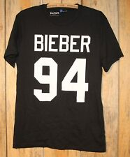 Justin Bieber 94 Big Letter Black T-Shirt Adult Size Medium +
