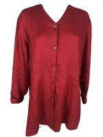 J Jill Button Front Tunic Red 100% Linen Blouse Small Long Sleeve -wsh