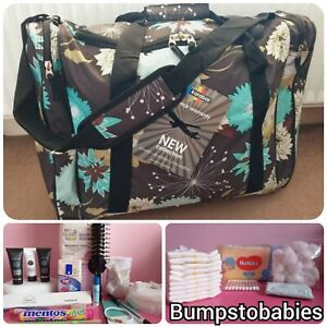 Pre packed Brown 🖤 Hospital Labour Maternity Birth Bag for mum & baby 🤰🤱👶🍼
