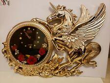 Vintage 1970s 80's KING large Novelty Clock Gold Unicorn Pegasus Velvet Roses