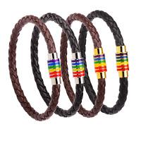 Titanium Steel Rainbow Flag LGBT Pride gay 7-12 inch Genuine Leather Bracelet